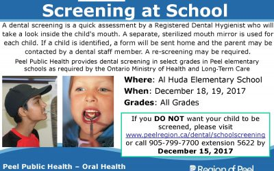 Free Dental Screening for all Grades – Dec 18th, 2017