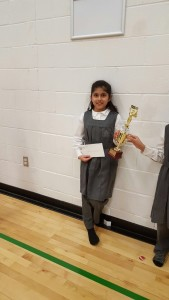 First place winner Hibbah Nisar Grade 3