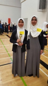 Second place winner Fiza Botar and Fourth place winner Hajra Aman both grade 6