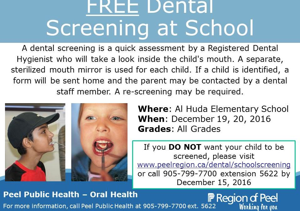 Free Dental Screening for All Grades